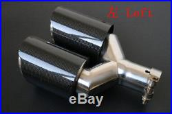 1 Pair 63-89mm Glossy Carbon Fiber Dual Exhaust Pipe Tail Muffler Tip Left+Right