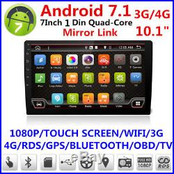 10.1 1080P Touch 1Din Car Stereo Radio GPS Navigation WiFi 3G/4G Android 7.1.1