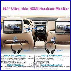 10.1 Headrest DVD Player Car Multimedia Back Seat Entertainment Monitor 1080P