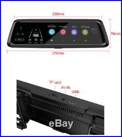 10'' HD 4G WiFi Bluetooth Android Car GPS DVR Adjustable Camera Recorder ADAS