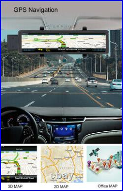 11.26in 1080P Car DVR Dash Cam Dual Lens Camera Video Recorder withRearview Mirror
