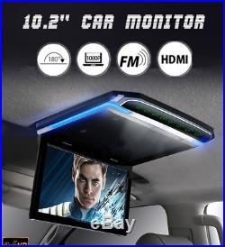 12V 10.2 HD Digital TFT Multimedia Video HDMI Car Roof Mount Flip Down Monitor