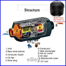 12V 4 Holes 5KW Air Diesel Heater Winter Auto Car Trucks Motor-Homes Warming Kit