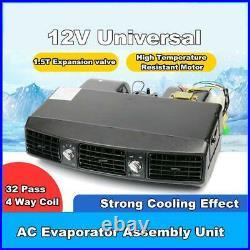 12V Black 32 Pass Coil Under Dash Evaporator Compressor Air Conditioner 3 Speed