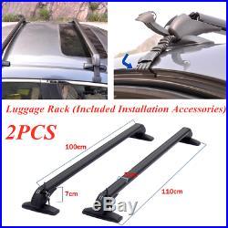 2PC Universal Car SUV Roof Rail Luggage Rack Baggage Carrier Cross Aluminum