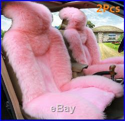 2Pcs Pink Australian Sheepskin Fur Car Front Seat Covers Cushion Mat Winter Warm