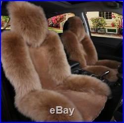 2x Genuine Australian Sheepskin Fur Long Wool Car Front Seat Covers Cushion Mat