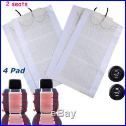 4Pcs 12V Carbon Fiber Heated Auto Car Seat Heating Heater Pad Winter Universal
