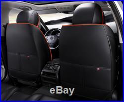 5-Seats Car Seat Cover Front+Rear Microfiber Leather Cushion All Season Orange