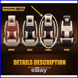 5-Seats Full Set PU Leather Deluxe Car Seat Cover Cushion Front &Rear with Pillows