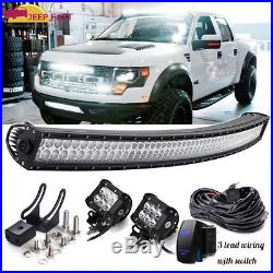 50 Curved Led Work Light Bar +(2)Cube Pods+Wiring Kit Roof Fog Driving Ford