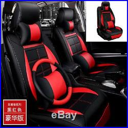 5D Surrounded By Luxury PU Leather Mat Car Autos Seat Covers 5-seats Black & Red