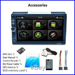 7 2DIN Touch Screen Car MP5 Player GPS Nav FM Bluetooth RDS Radio AUX & 8GB Map