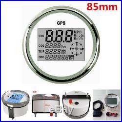 85mm Digital GPS Speedometer Odometer Gauge 0999Knots for 9-32V Auto Car Truck