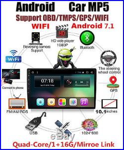 Android 7.1 Single 1Din 10.1 Car GPS Stereo Radio Player Wifi 3G/4G 4-Core 16GB