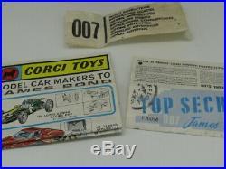 Corgi 261 Gold James Bond 007 Aston Martin D. B. 5 Vn Mint Rare Original Boxd 1965