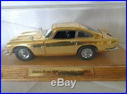 Danbury Mint Aston Martin James Bond Gold Db5 With Plinth & Perspex Cover