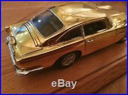 Danbury Mint Aston Martin James Bond Gold Db5 With Plinth & Perspex Cover