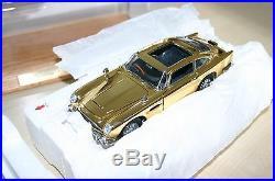 Danbury Mint Aston Martin James Bond Gold & Silver Db5 With Display Cases