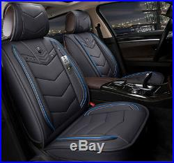Deluxe 6D 5-Seats Full Car Leather Seat Covers Cushion Interior Accessories Mat