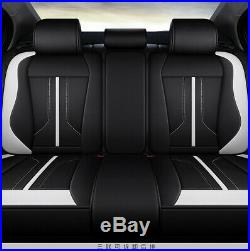 Deluxe 6D Black+White 5 Seats Full Car Seat Covers Cushion Interior Accessories