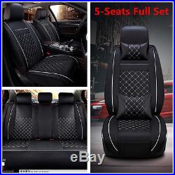 Deluxe Car Seat Cover Cushion 5-Seats Front + Rear PU Leather with Pillows Size M