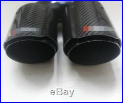 H Style Glossy Black Carbon Fiber 63mm Double Pipe Exhaust Tip Pipe Left
