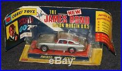 James Bond 1968 Corgi MIB 270-B Aston Martin DB5 Bubble Window Gold Bumpers NRFP