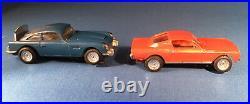 James Bond AC Gilbert Slot Cars Blue Aston Martin and Red Mustang 1/43 Gauge