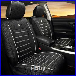 Linen Fabric Deluxe Edition Car Seat Cover Cushion 5-Seats Front & Rear +Pillows