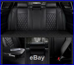 Luxury 3D Surround Breathable PU Leather Car Seat Cover Cushion Front & Rear Mat