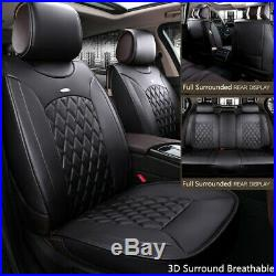 Luxury PU Leather Car Seat Covers Full Set Front+Rear Seat Cushion Mat-USA Stock