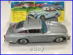 Rare 1960's Tin Aoshin ASC Friction Aston Martin DB5 James Bond 007 Spy WithBOX