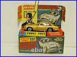 Rare Vintage Corgi'60s 007 James Bond Aston Martin DB5 Car (261) Nr Mint