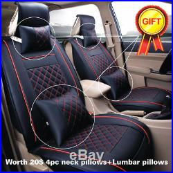 Size M Auto Car 5-Seats PU Leather Seat Cover Front+Rear Neck Lumbar Pillows Set