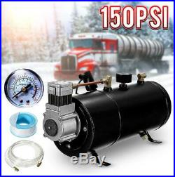 Truck Boat 4-Trumpet Train Air Horn Kit With 150 PSI Air Compressor 12V 3 Liters