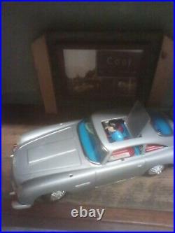 Vintage 1965 James Bond 007 Gilbert Aston Martin Tin Toy Battery Op & Repro Box