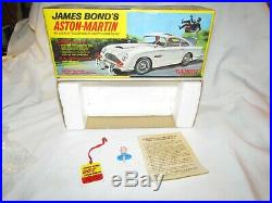 Vintage Battery Operated 007 James Bond Aston Martin Toy Car By Gilbert Mint In