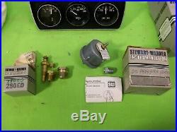 Vintage STEWART WARNER Heavy Duty Gauge Set Rat Rod Gasser Mopar Ford GM